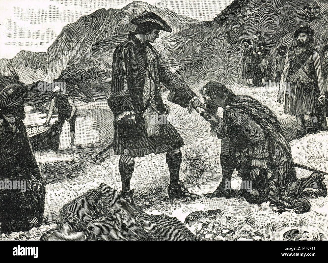 Landing of Bonnie Prince Charlie, Eriskay, 23 July 1745 - Stock Image