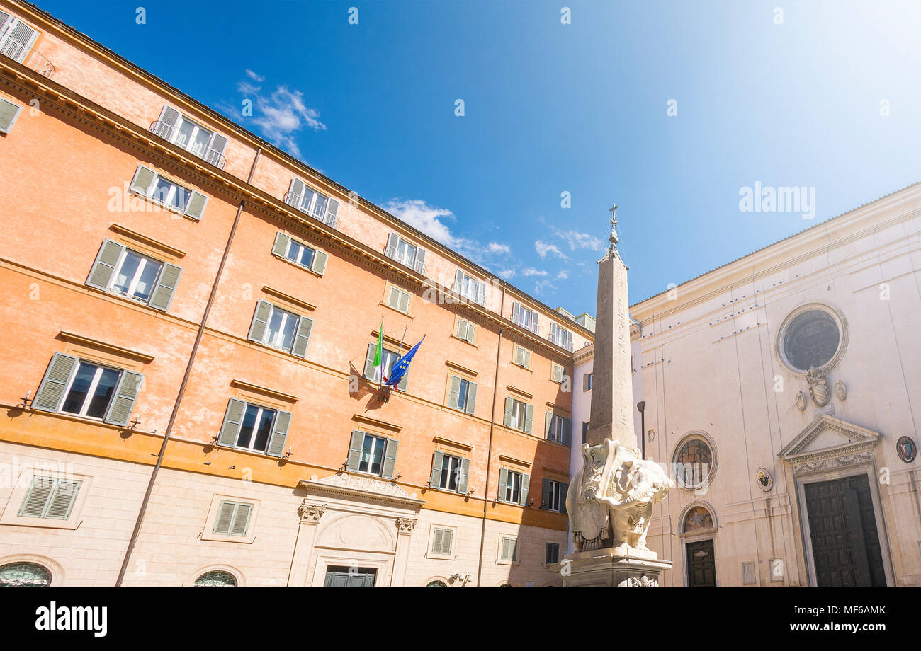 Monument of Elephant by Bernini on Piazza della Minerva in Rome, Italy Stock Photo