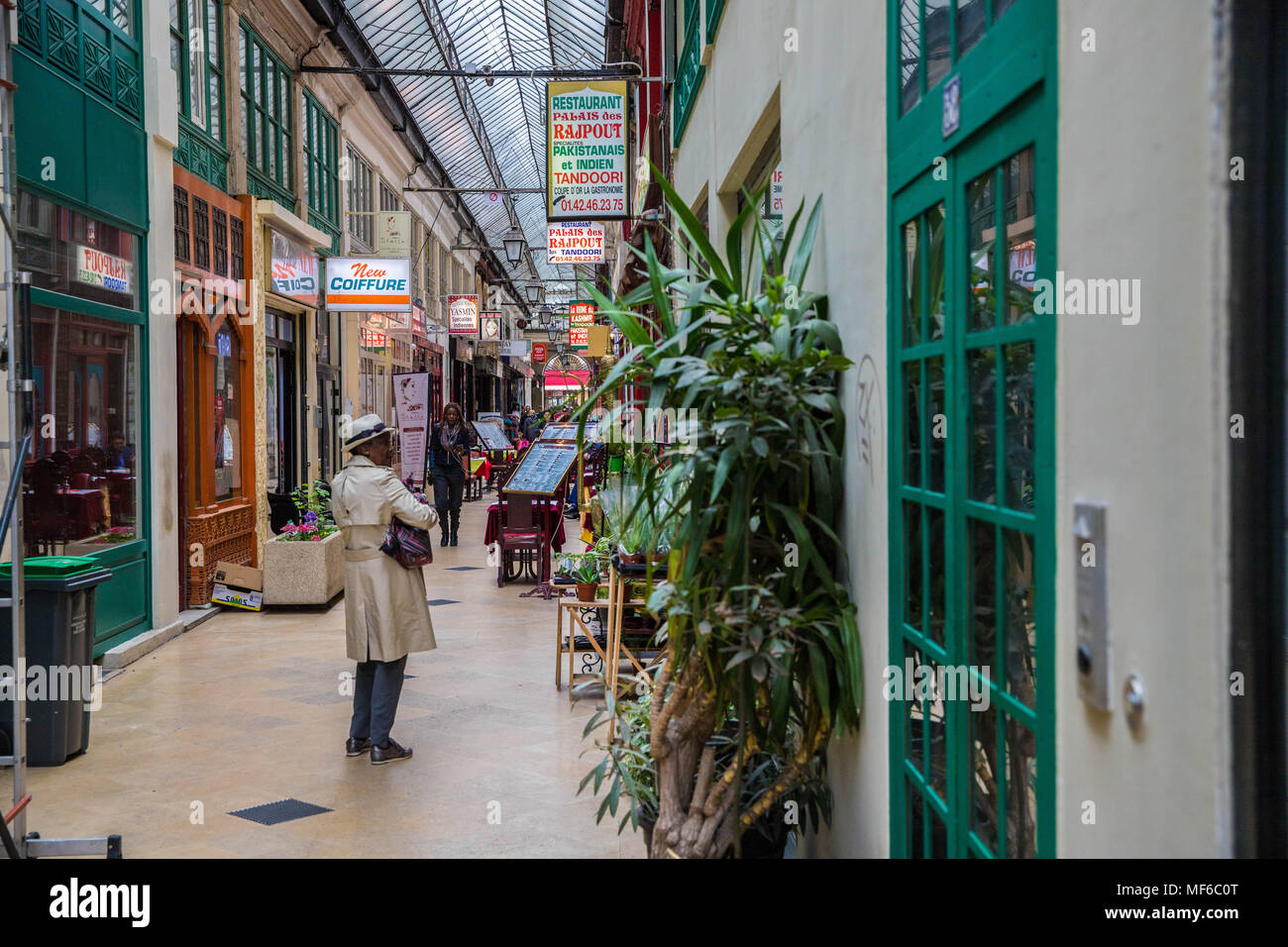 Passage Brady, passage couvert, covered passage, indian, Paris - Stock Image