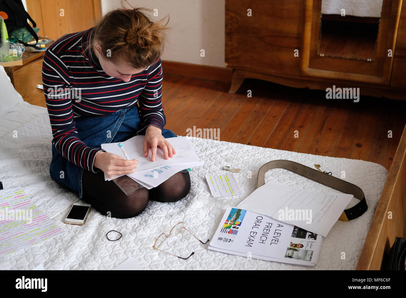 A 17 year old girl studying for A levels in her bedroom. - Stock Image