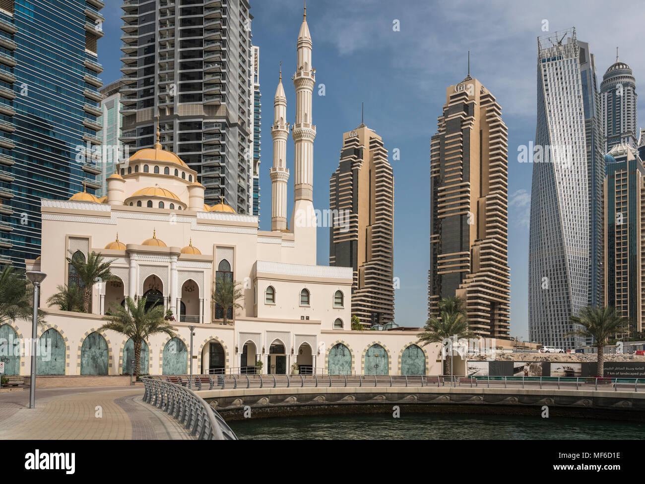 The Al Raheem mosque in the marina of Dubai, UAE, Middle East. - Stock Image