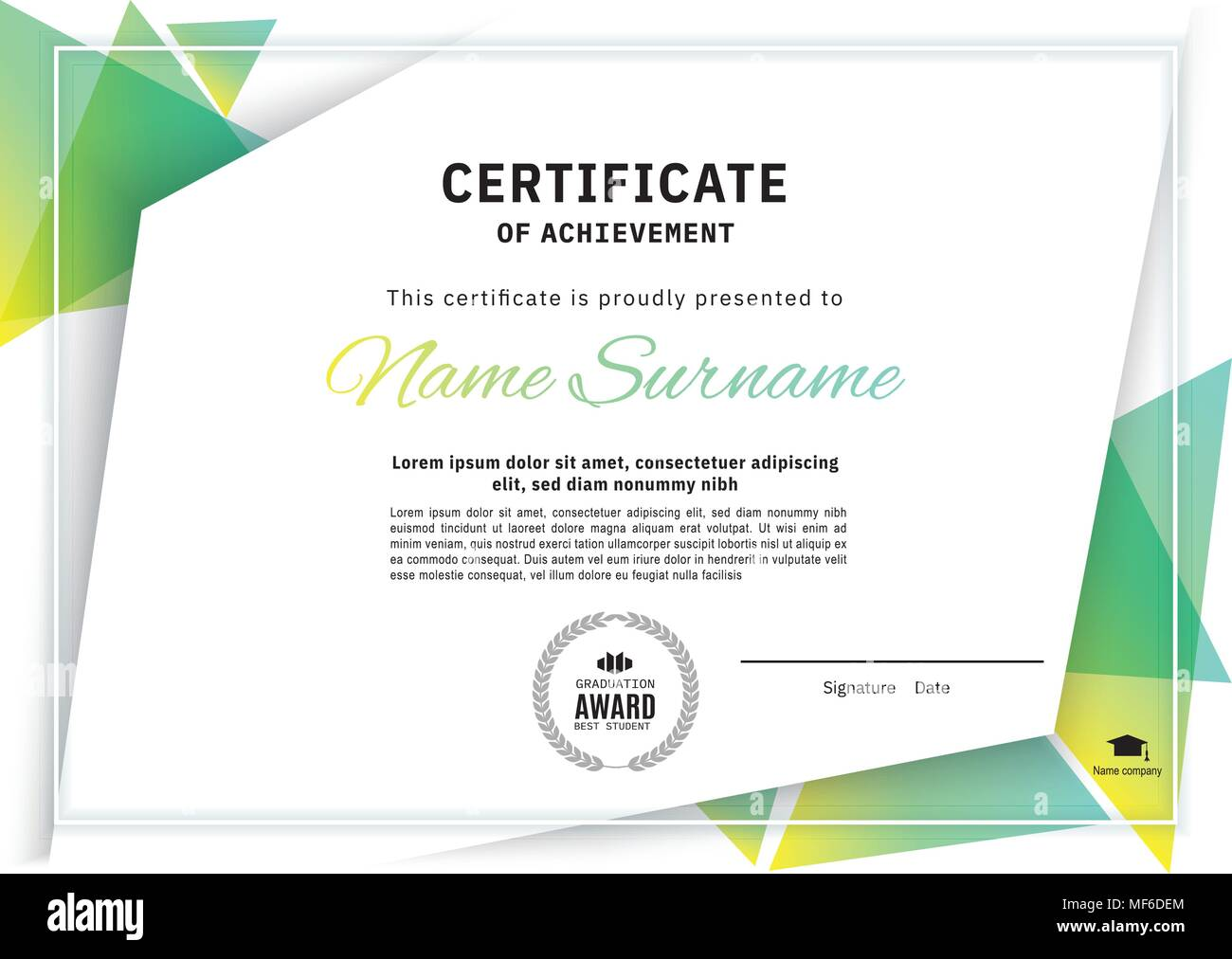 Official white certificate with green triangle design elements ...