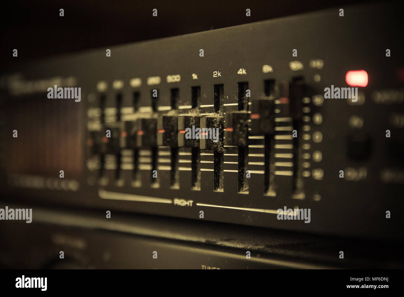 Graphic equalizer controls on an audio system - Close Up Selective