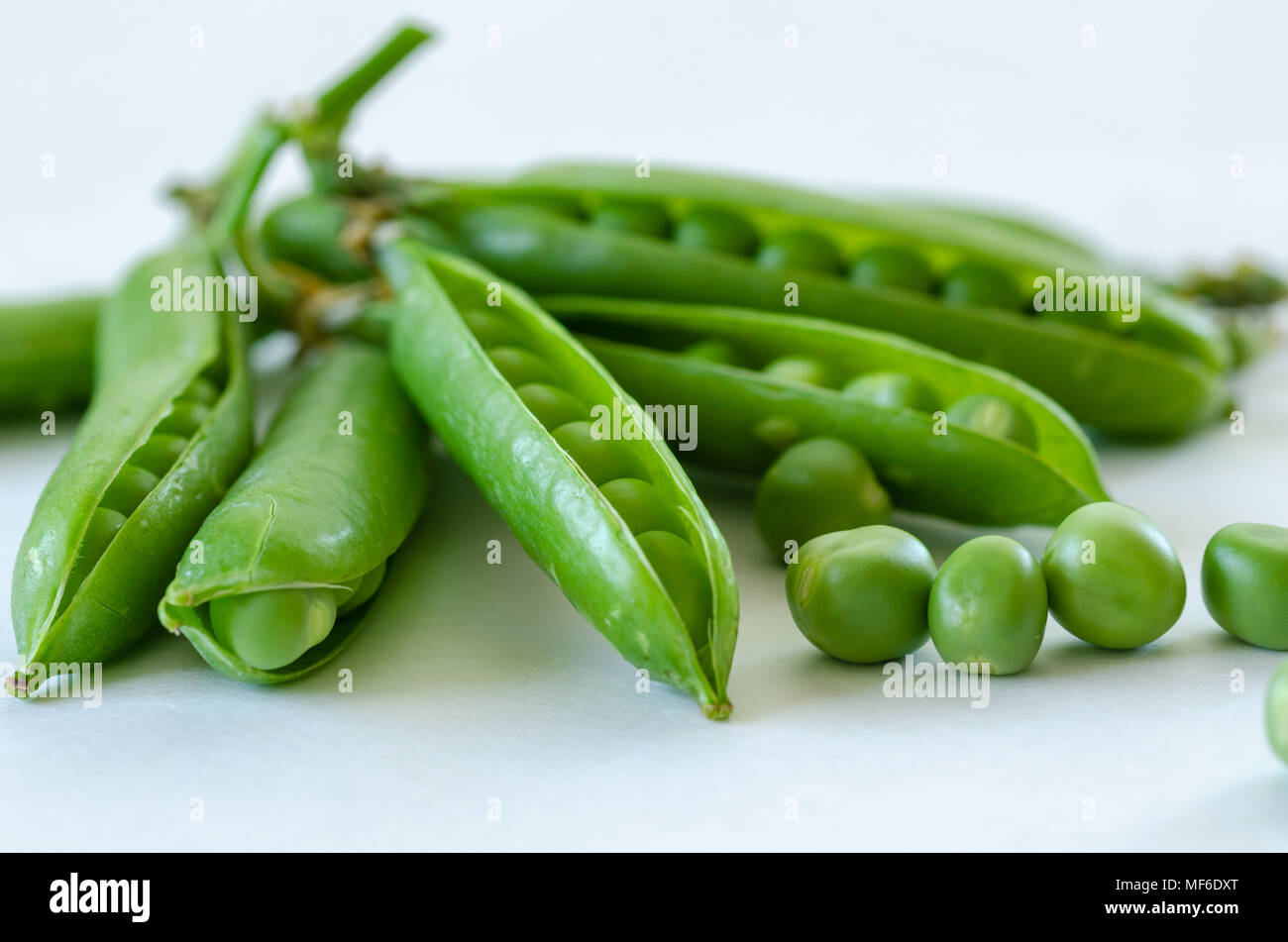 Fresh Green Peas Macro - organic food from the garden. - Stock Image