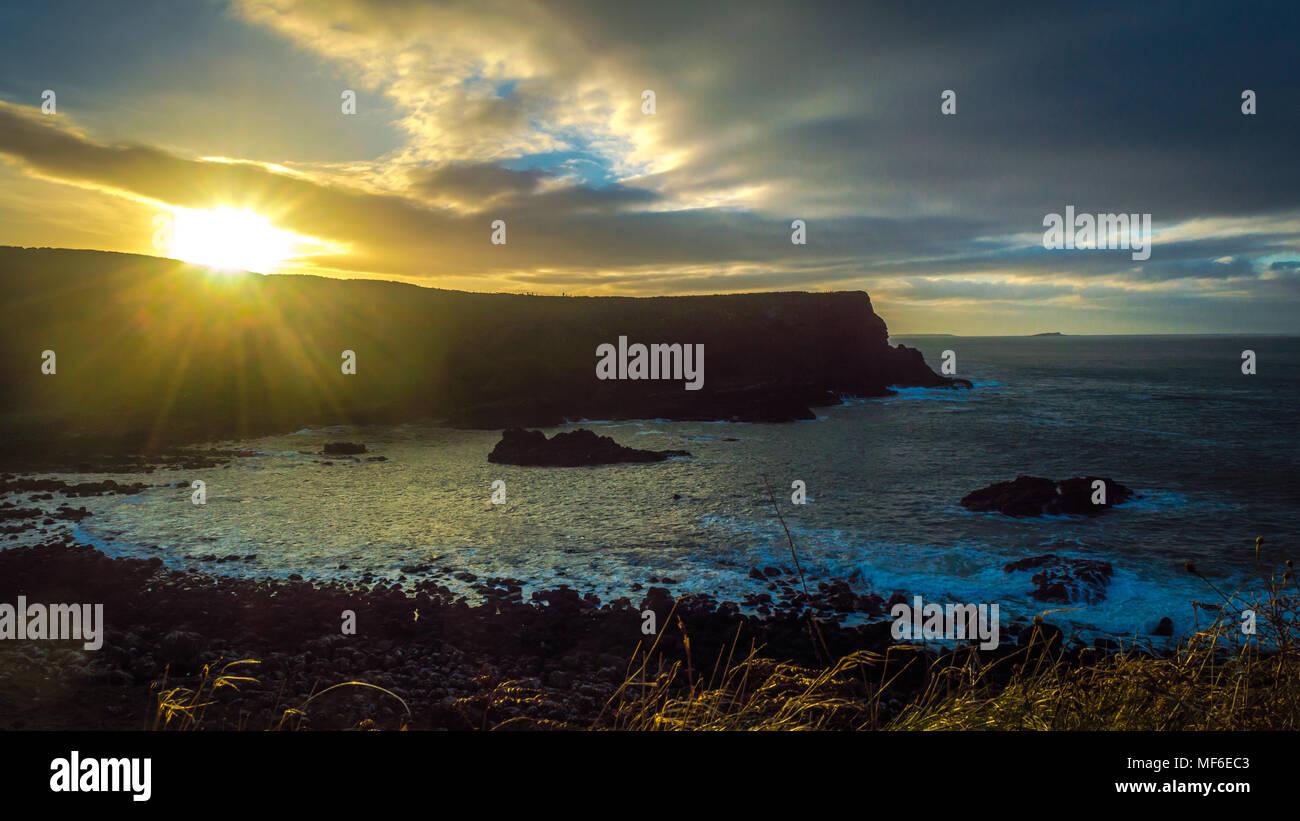 Sunset at the Giant Causeway, Ireland, UK - Stock Image