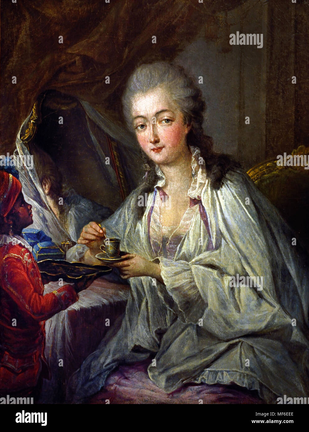 Madame du Barry and the Zamore page. copy after Jean-Baptiste André Gautier-Dagoty  (1740–1786) ,France, French, - Stock Image
