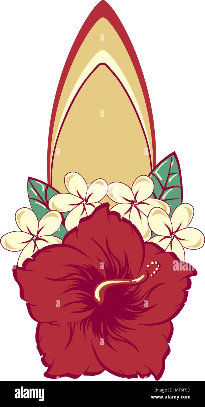 Surfboard in hawaiian flowers bouquet hibiscus and plumeria stock surfboard in hawaiian flowers bouquet hibiscus and plumeria izmirmasajfo Choice Image