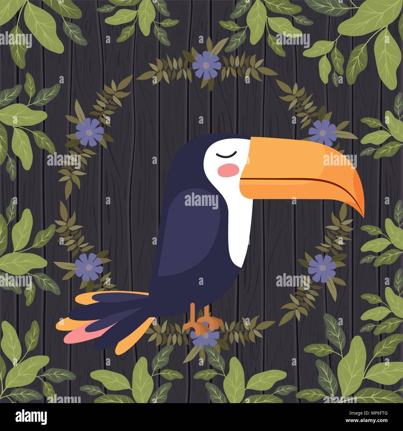 cute toucan bird in forest scape scene vector illustration