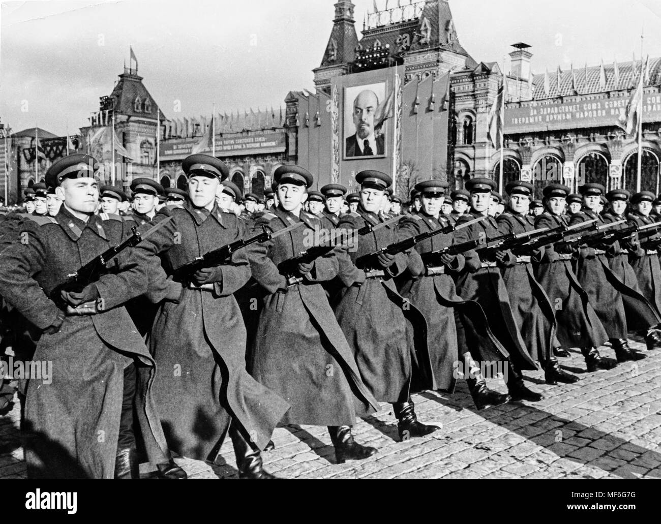 army parade, Red Square, Moscow, Russia, 70s - Stock Image
