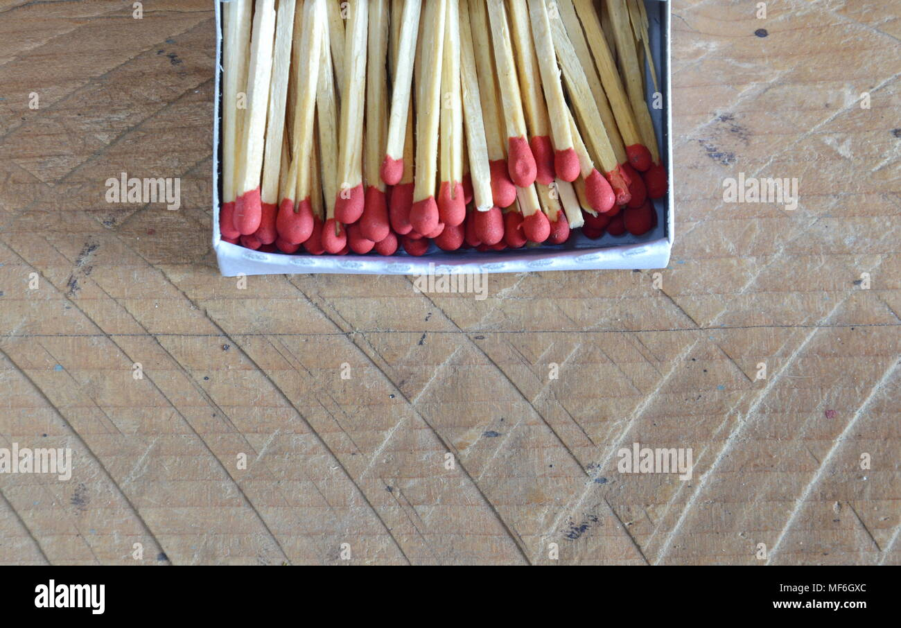 matchstick in paper box - Stock Image