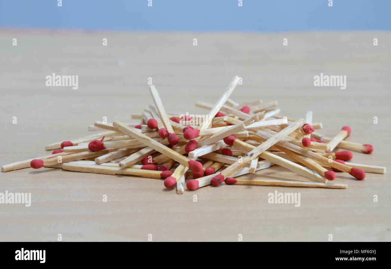matchstick batch on the floor - Stock Image