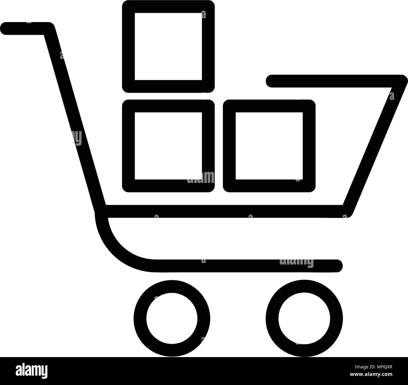 Shopping trolley with boxes icon, isolated on white background - Stock Image