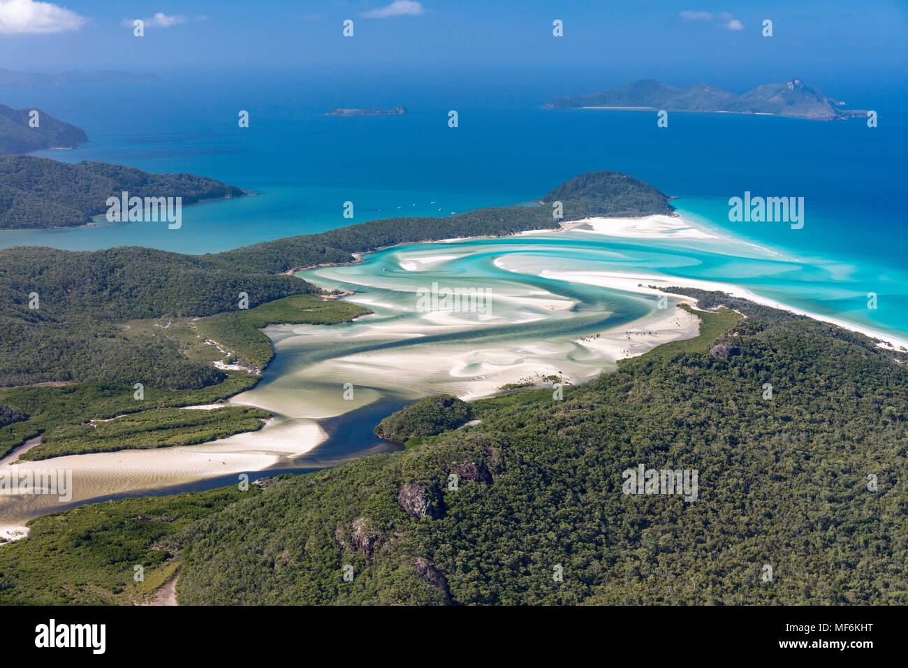 View to Hill Inlet and Whitehaven beach, river meanders, behind Border Island, Whitsunday Islands, Queensland, Australia - Stock Image