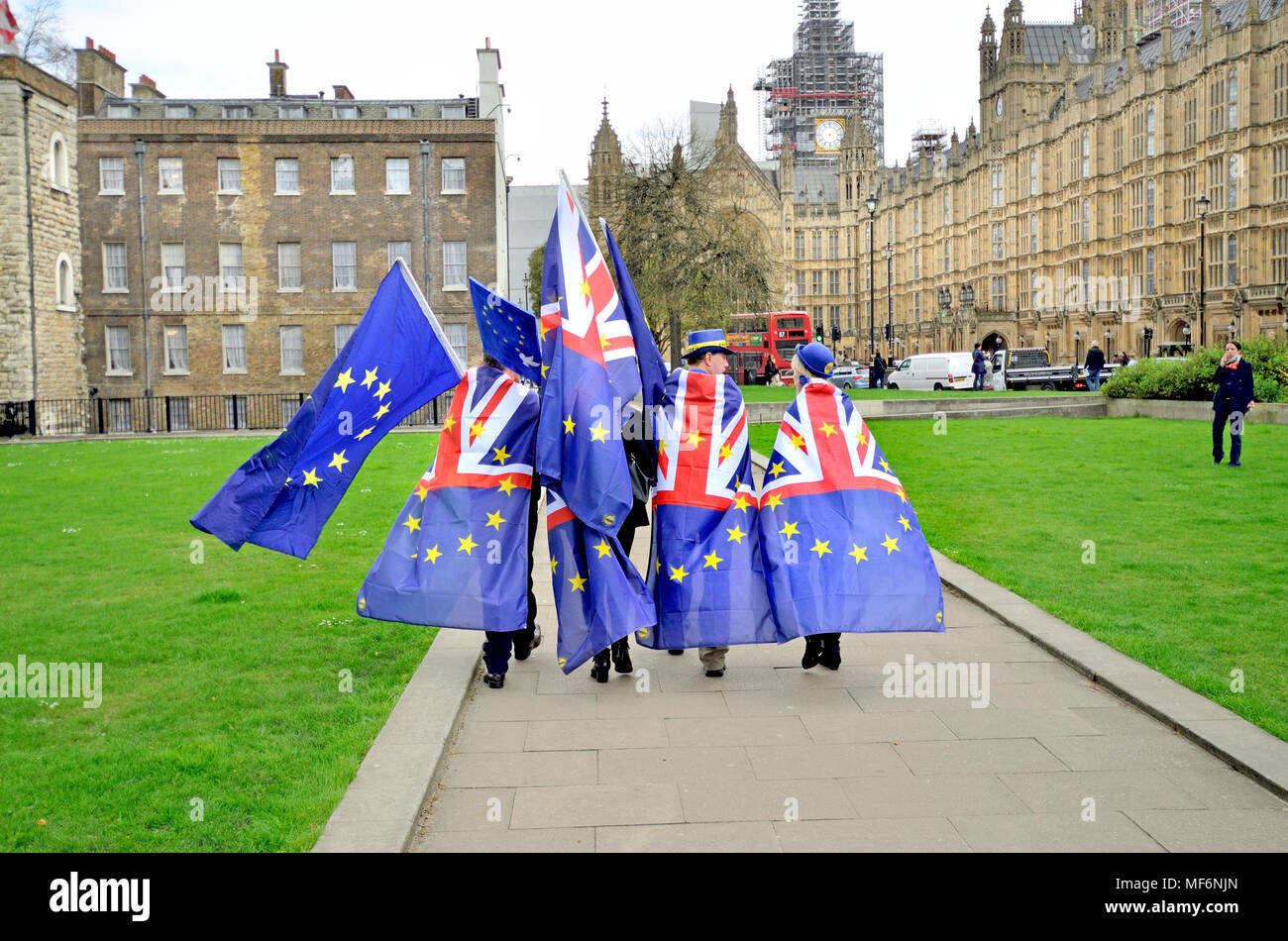 London, UK. Pro-European Union protester wearing EU and Union flags on College Green, Westminster. Steve Bray 2nd right - Stock Image