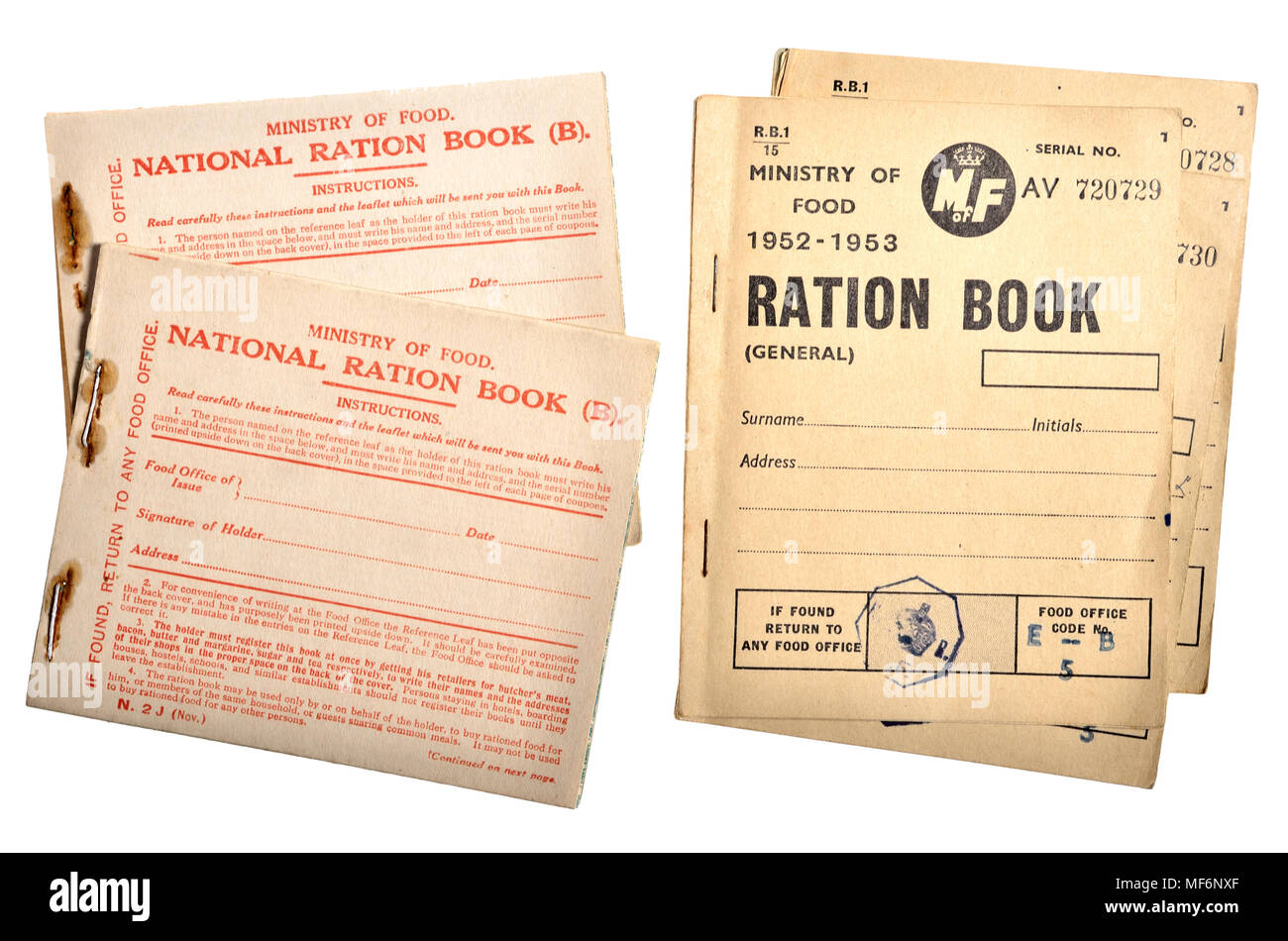 First and Second World War Ration books - Stock Image