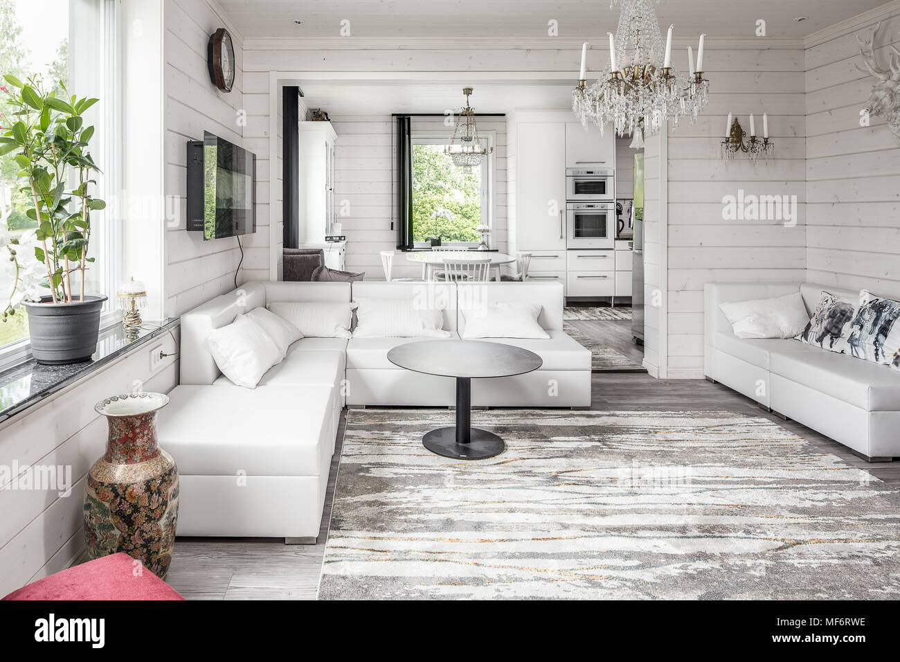 Contemporary White Walled Scandinavian Living Room Stock
