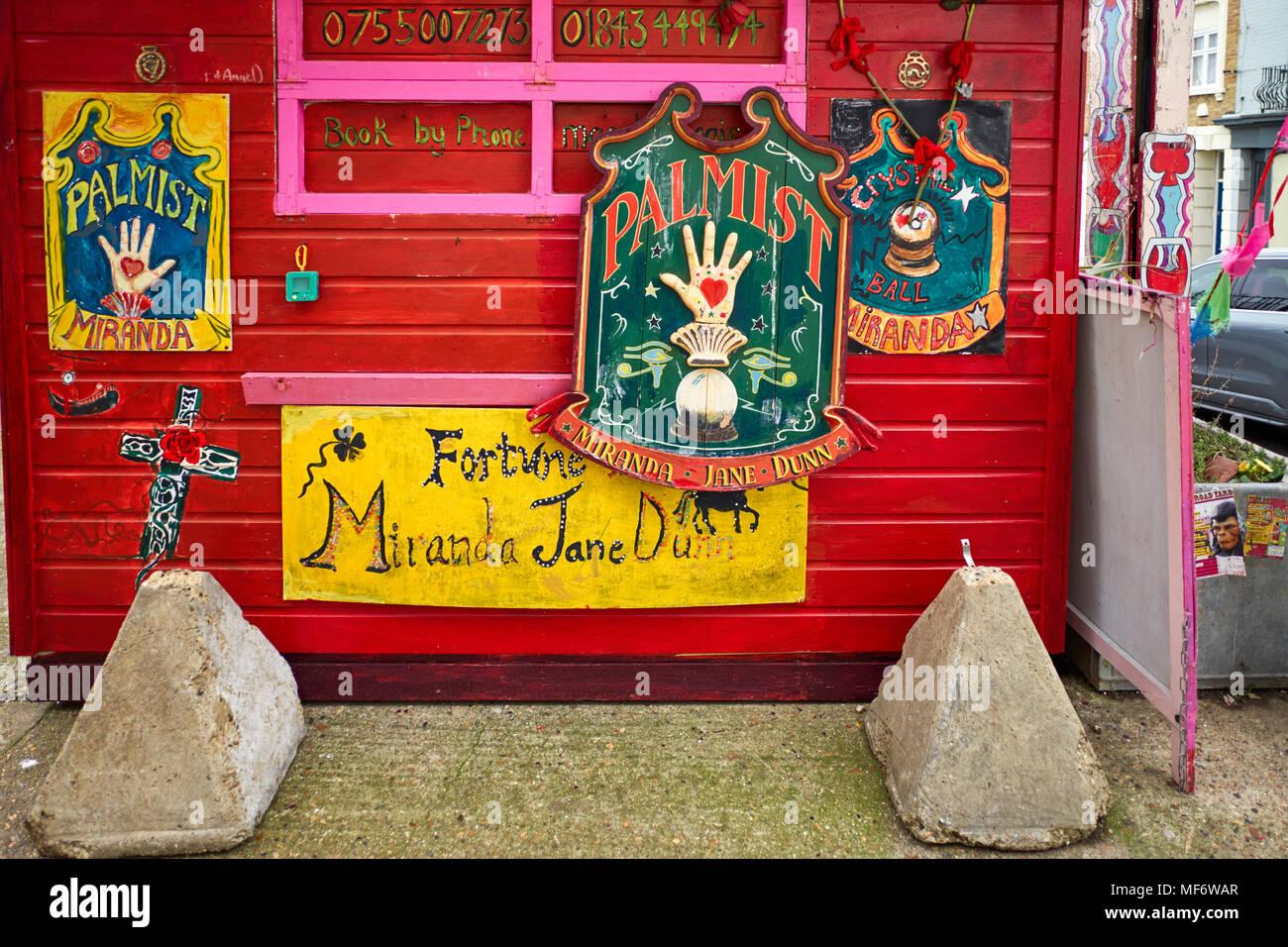 Fortune teller Miranda Jane Dunn at Fort Road, Margate, Kent - Stock Image