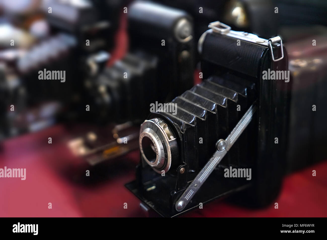 Selective focus of old bellow photography cameras - Stock Image