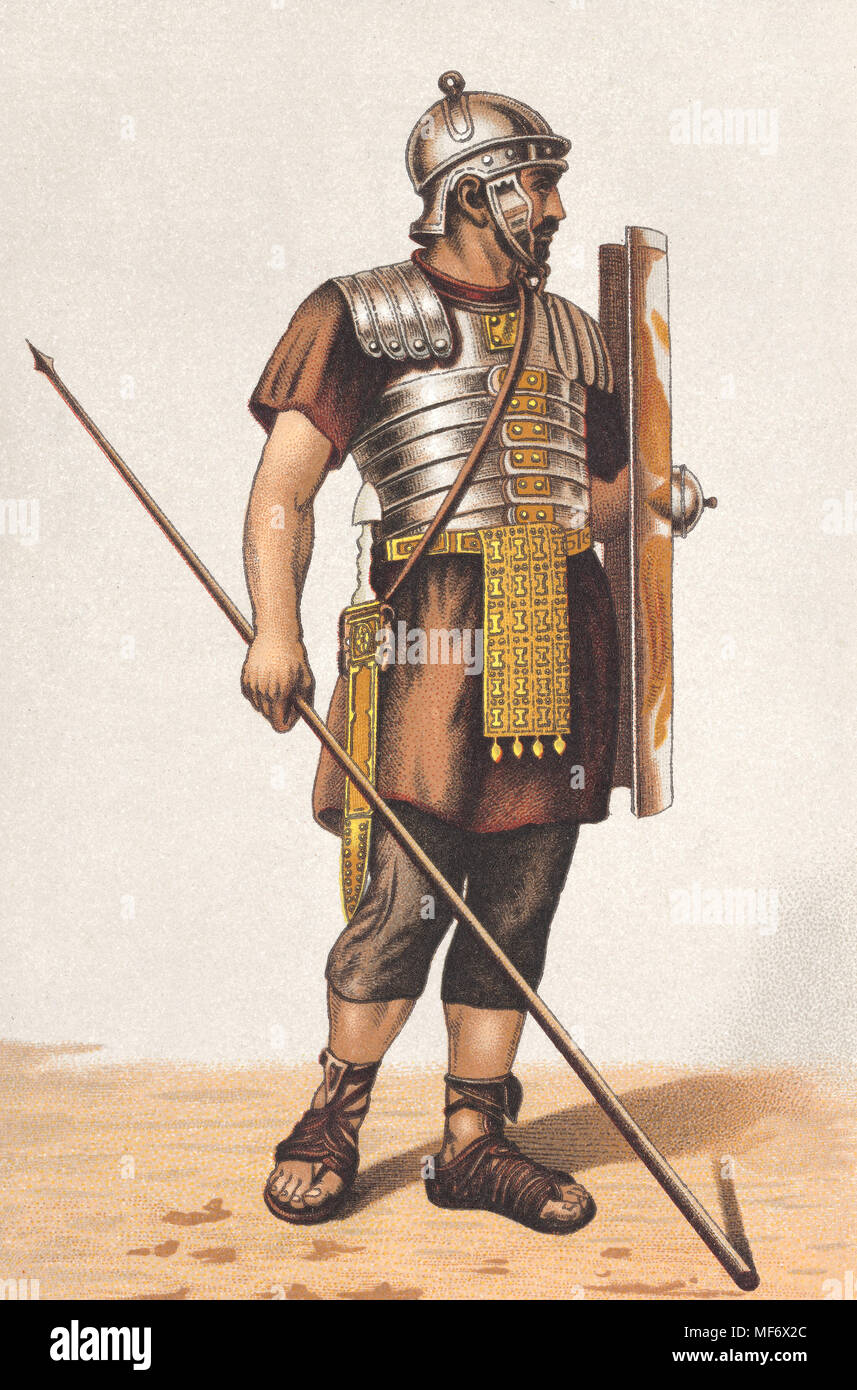 Roman legionary with armor, shield and lance - Stock Image