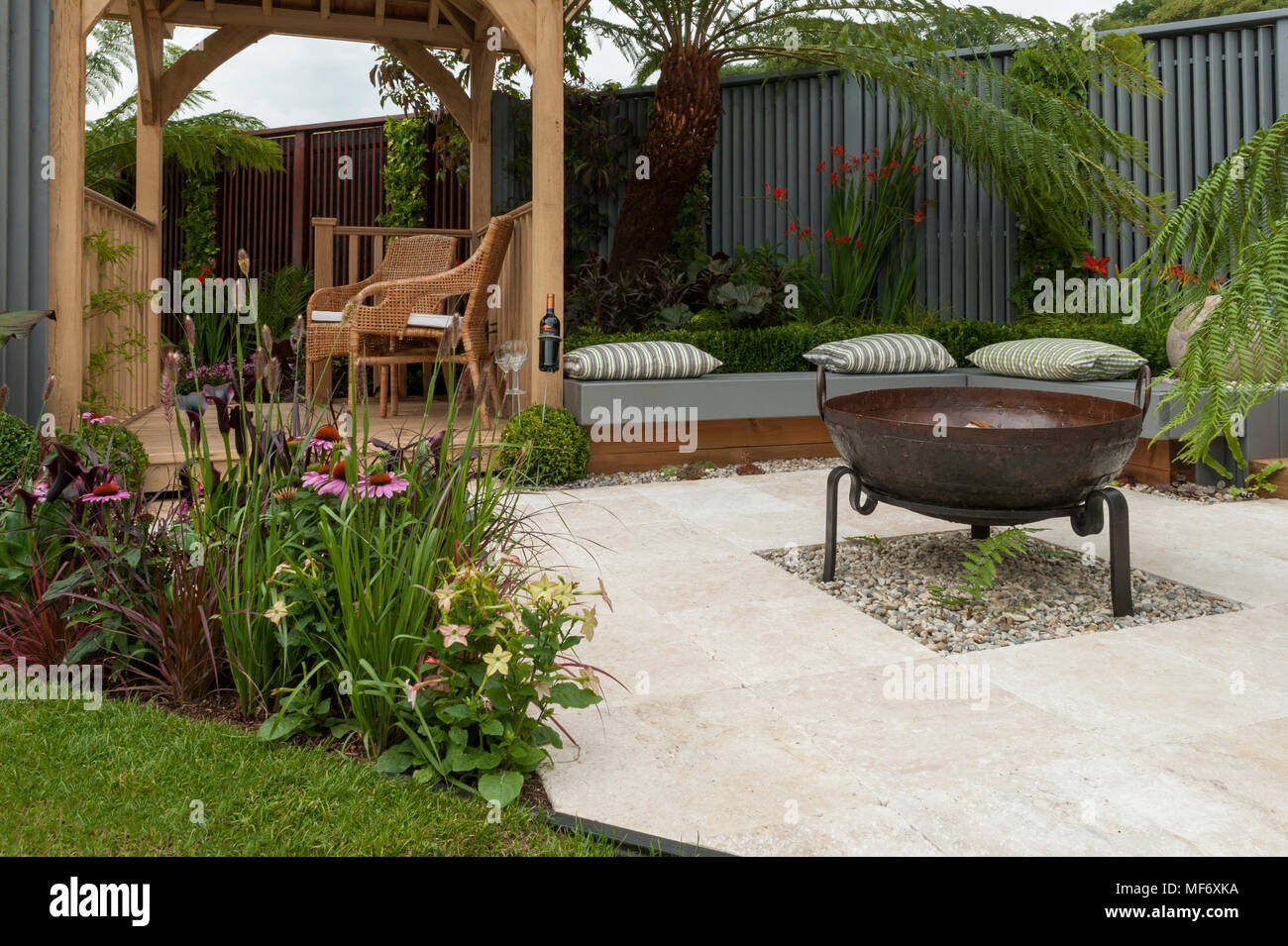 Seating Areas Gazebo Patio Fire Pit Flowers In Tropical Style Show Garden Visit Plantation Colonial Chic And Bajan Roots Rhs Show Tatton Park Stock Photo Alamy