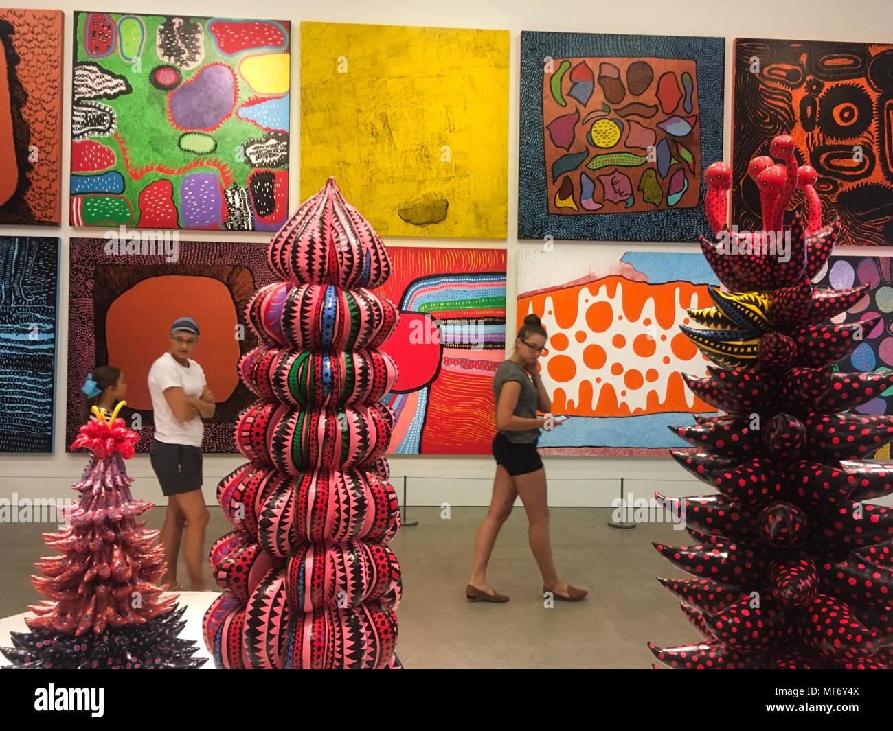 Yayoi Kusama 'Life is the Heart of a Rainbow' art exhibition, in Brisbane, Australia, on 19 January 2018. - Stock Image
