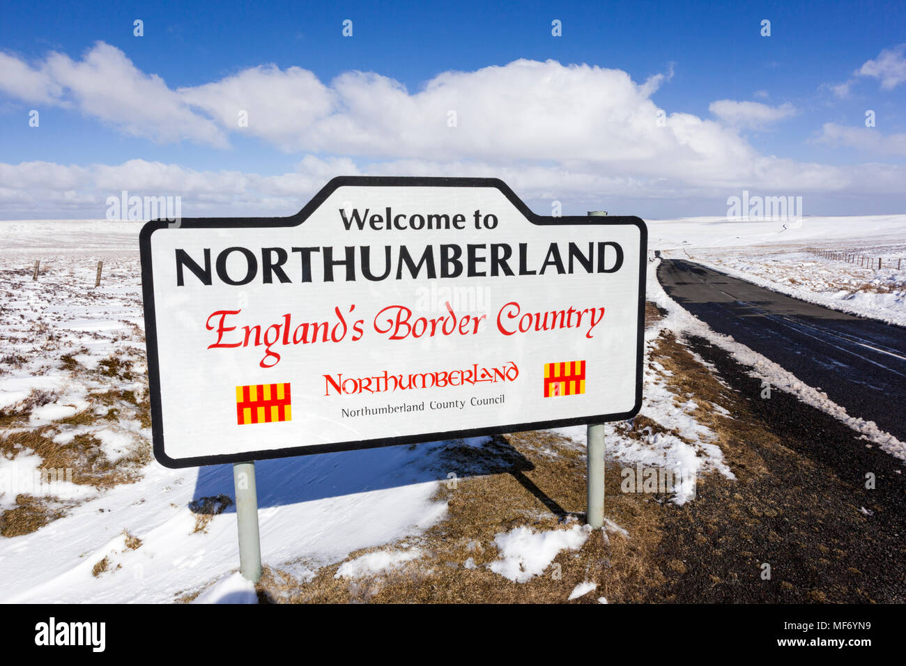 The Pennines in winter - A snowy landscape on the border between Cumbria and Northumberland near Nenthead UK - Stock Image