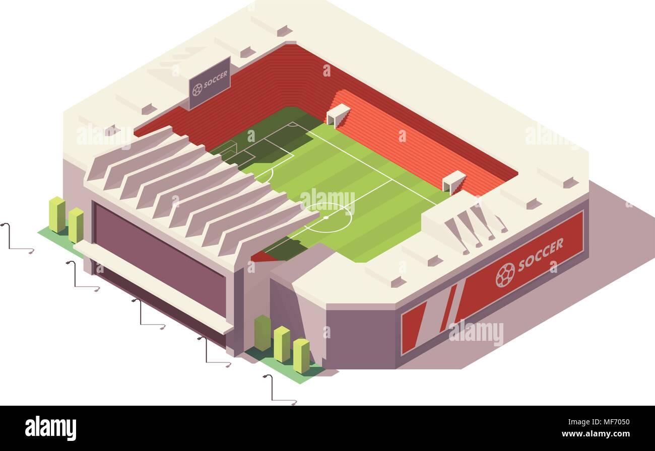 Vector isometric low poly soccer stadium - Stock Vector
