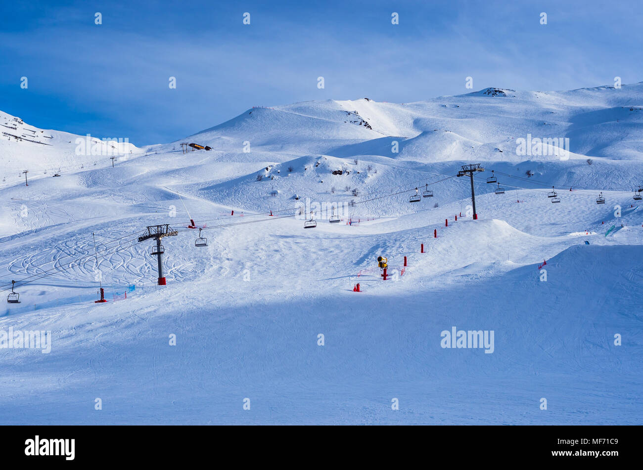 Empty slopes of French ski resort in the Pyrenees Stock Photo