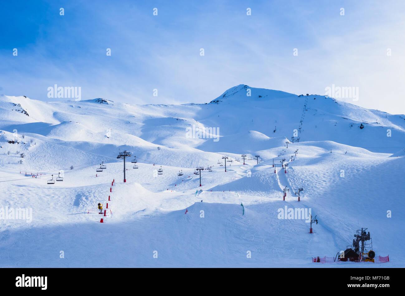 Empty ski resort of Piau-Engaly, Pyrenees, France - Stock Image