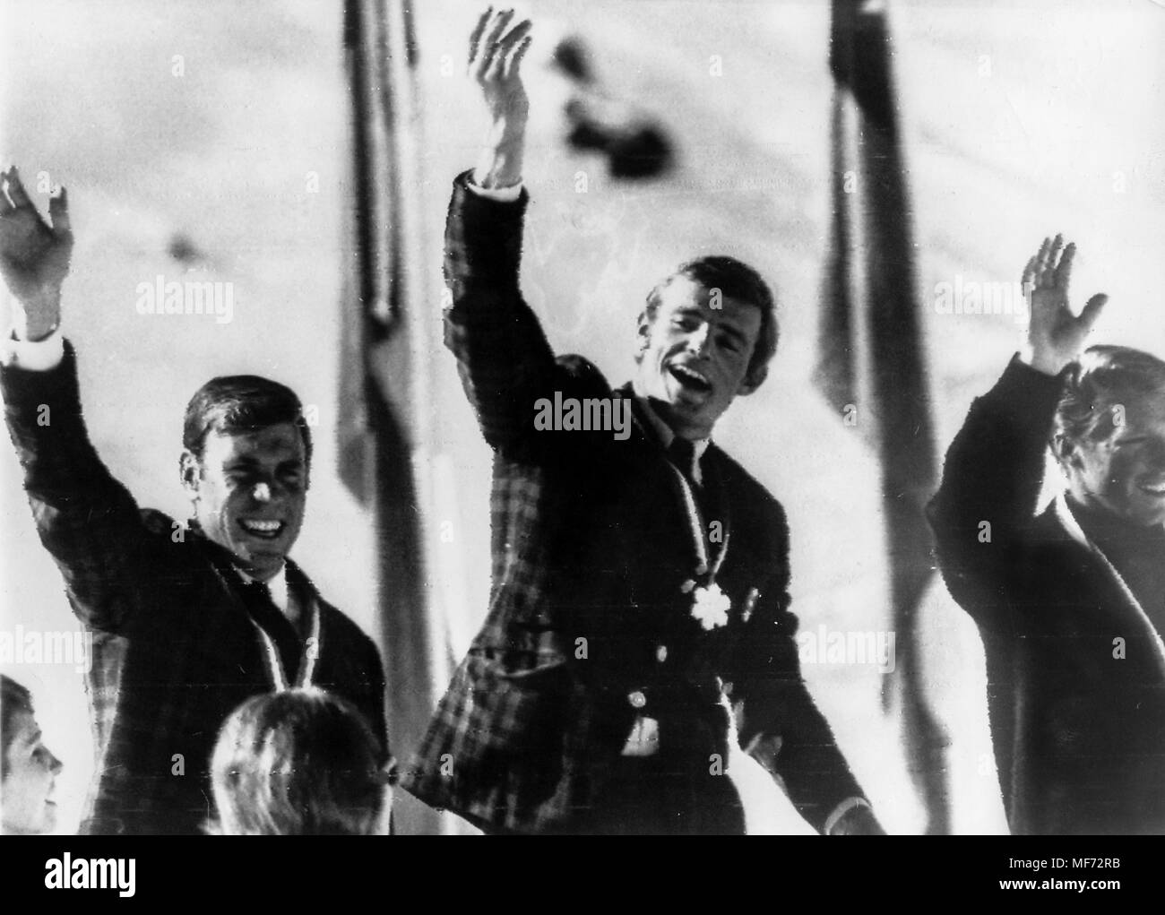 jean claude killy, leo lacroix, ludwig leitner, alpine skiing world championships, portillo, chile, 15 august 1966 - Stock Image