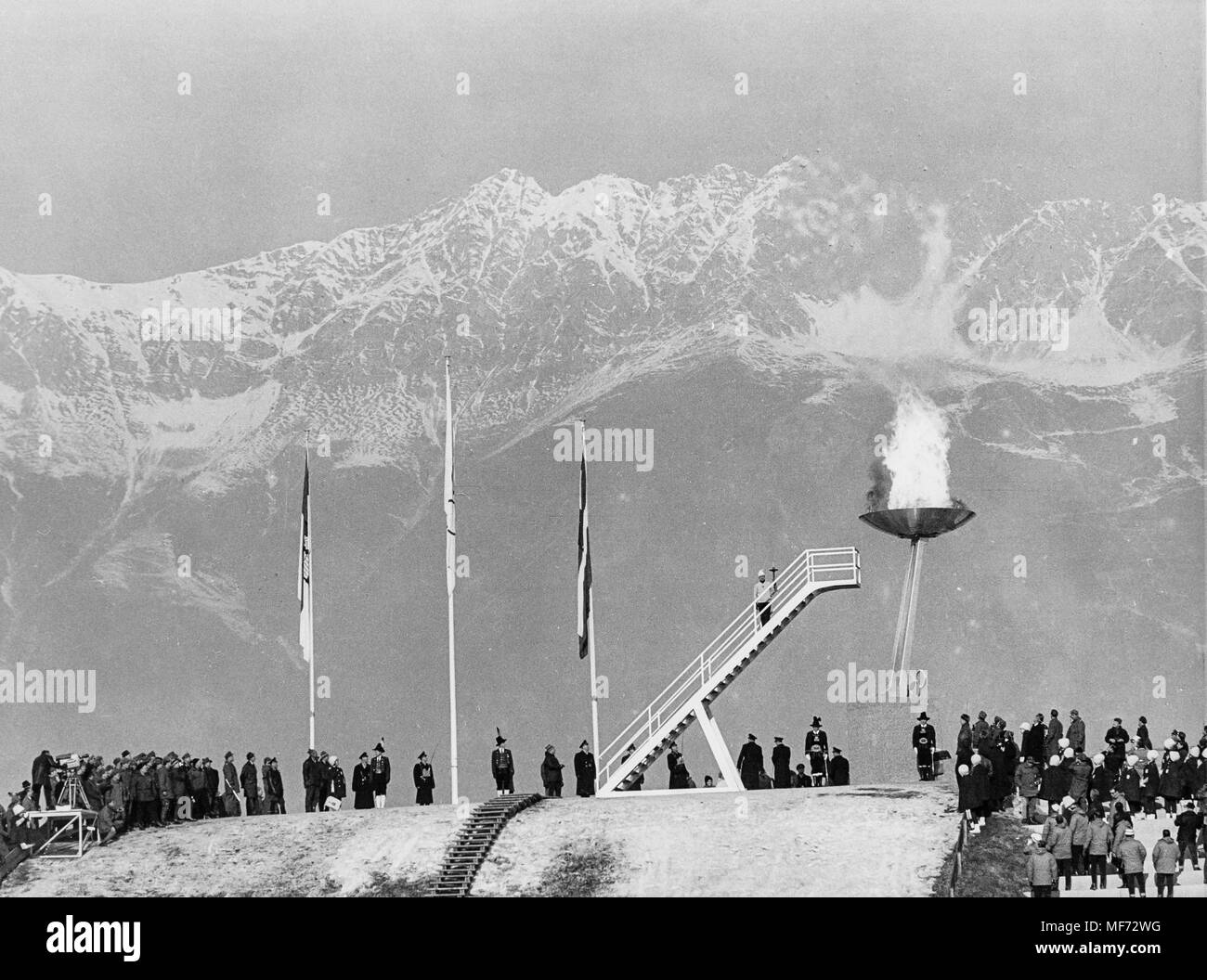 josl rieder lit the Olympic Flame at the 1964 Winter Olympics in Innsbruck - Stock Image