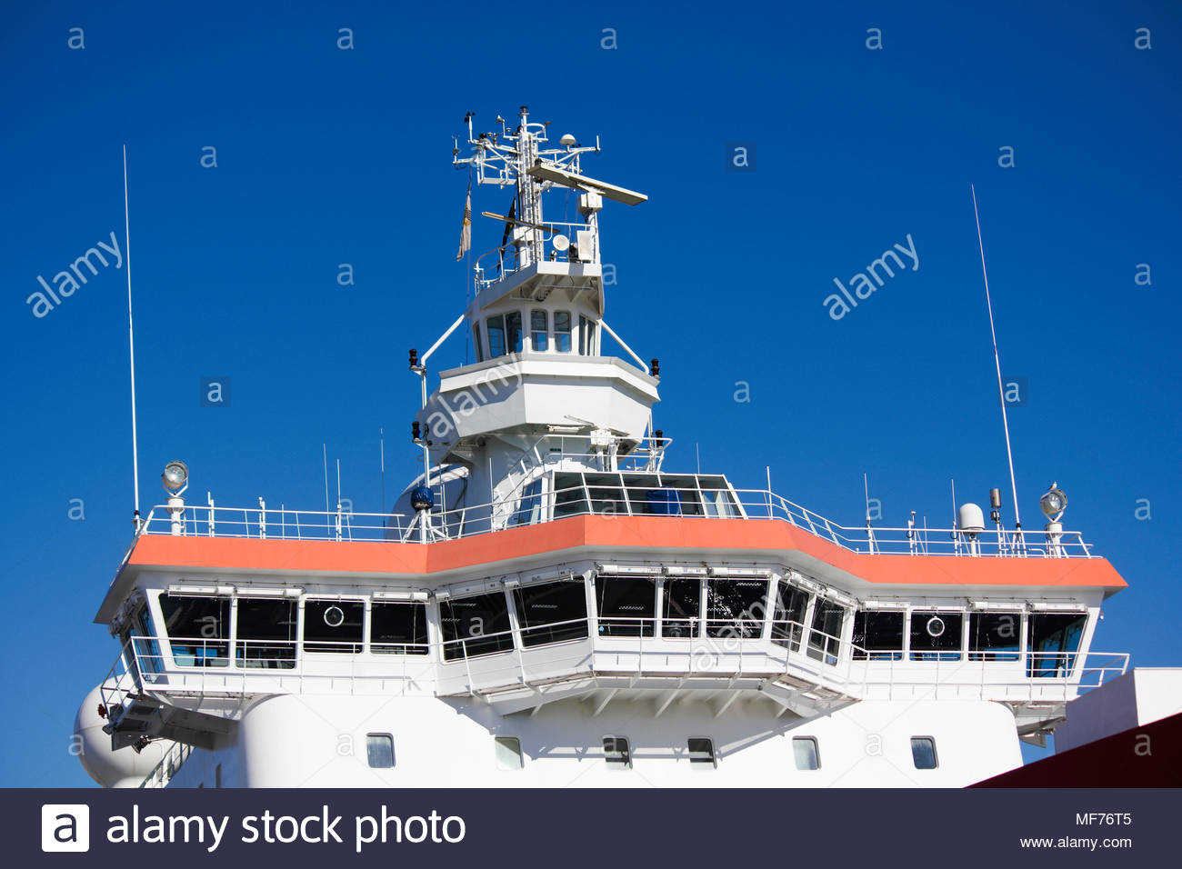 Modern Ships Command Bridge and Crow Nest - Stock Image