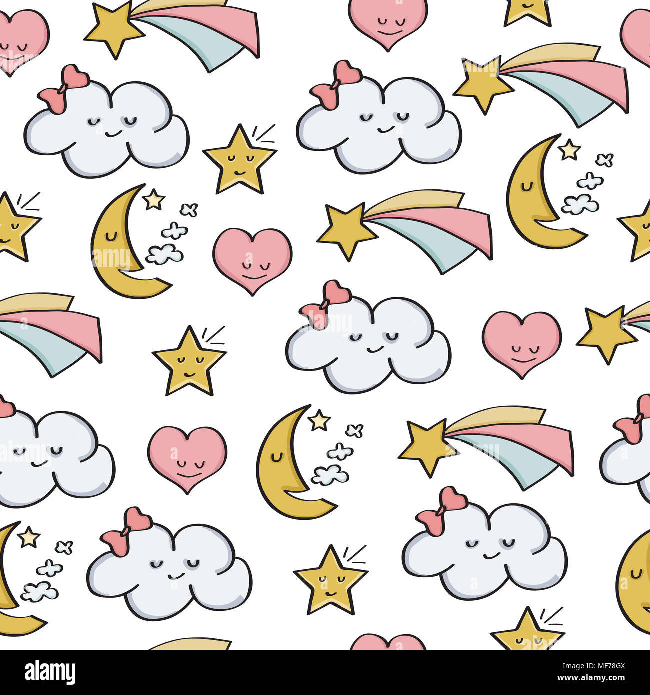 doodle seamless pattern with fantasy magical elements vector stock