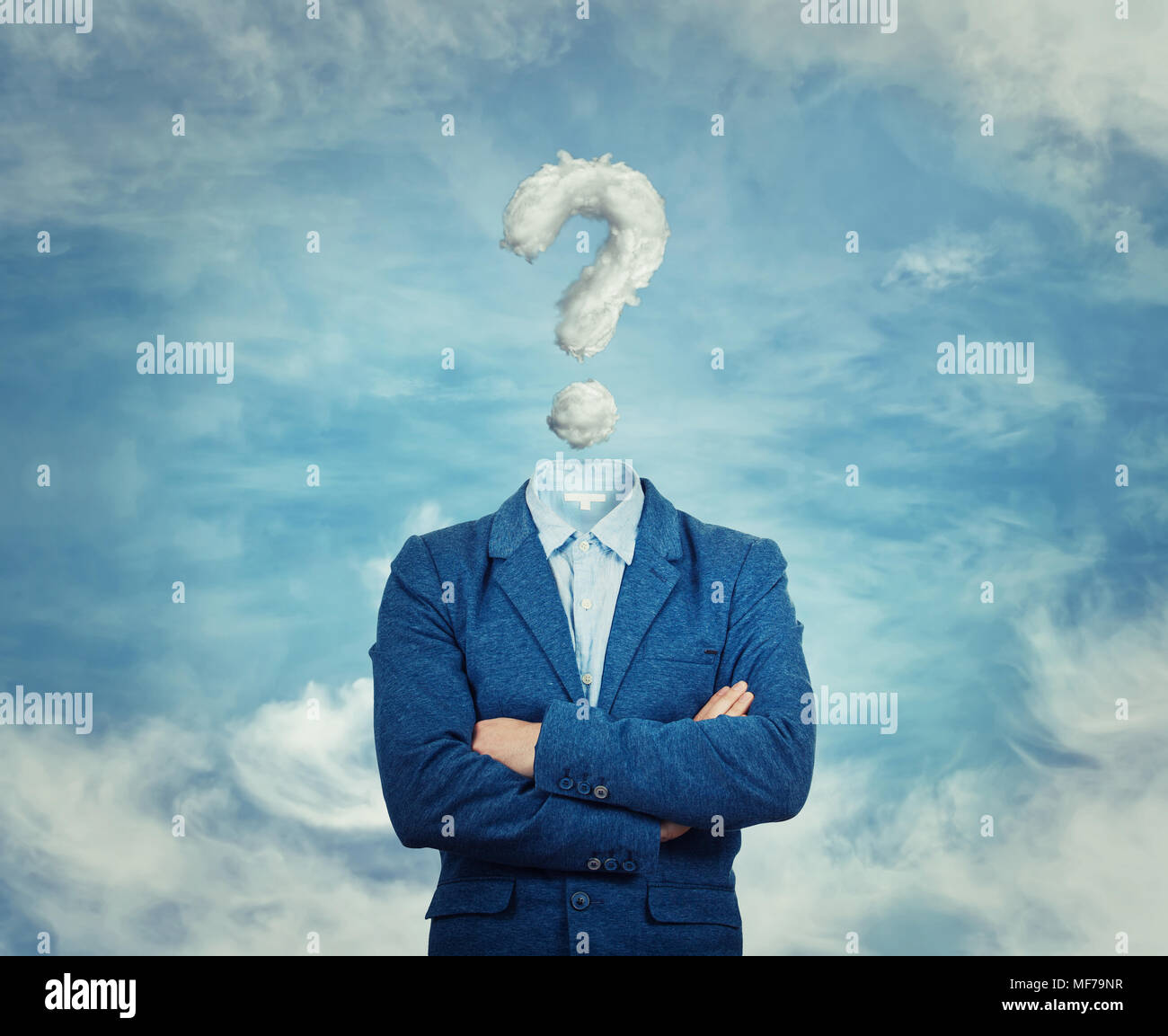 Surreal image as a businessman with invisible face stand with crossed hands and question mark insted of his head, like a mask, for hiding his identity - Stock Image