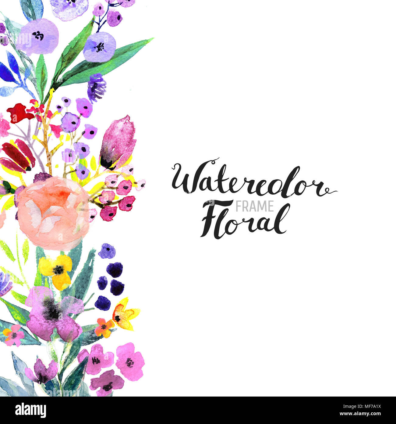 Watercolor floral background hand painted border of flowers good watercolor floral background hand painted border of flowers good for invitations and greeting cards painting isolated on white and brush lettering m4hsunfo