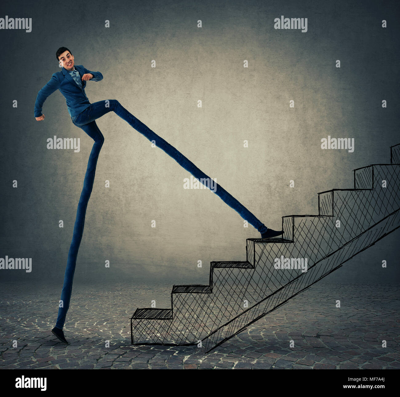 Businessman with long legs stepping on a staircase, trying to leap more stairsteps once. Accelerate climbing to success and bussiness growth. - Stock Image