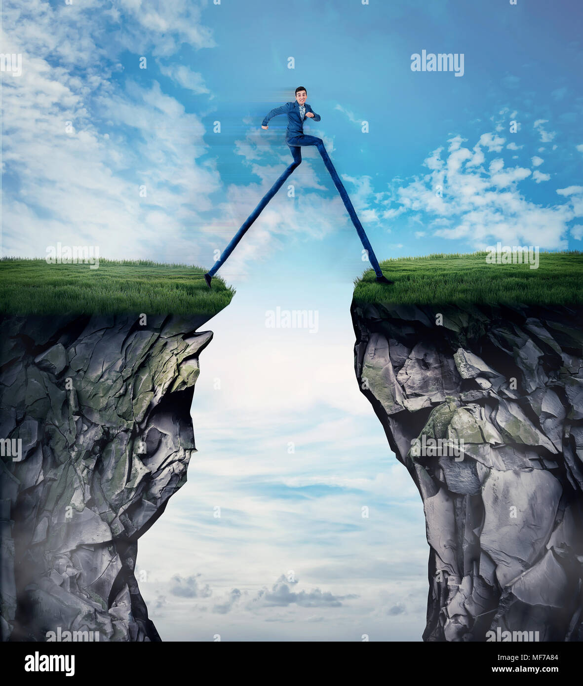 Fantasy business concept as a businessman with long legs run and leap over a chasm obstacle. Symbol of adaptation to changes, finding solution and ove - Stock Image