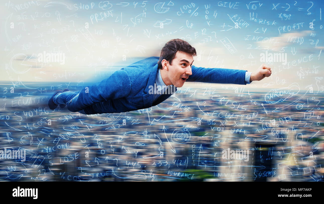 Wondered businessman flying over the city like a superhero. Surrounded by hard mathematics calculation and formulas. Business success concept. Stock Photo