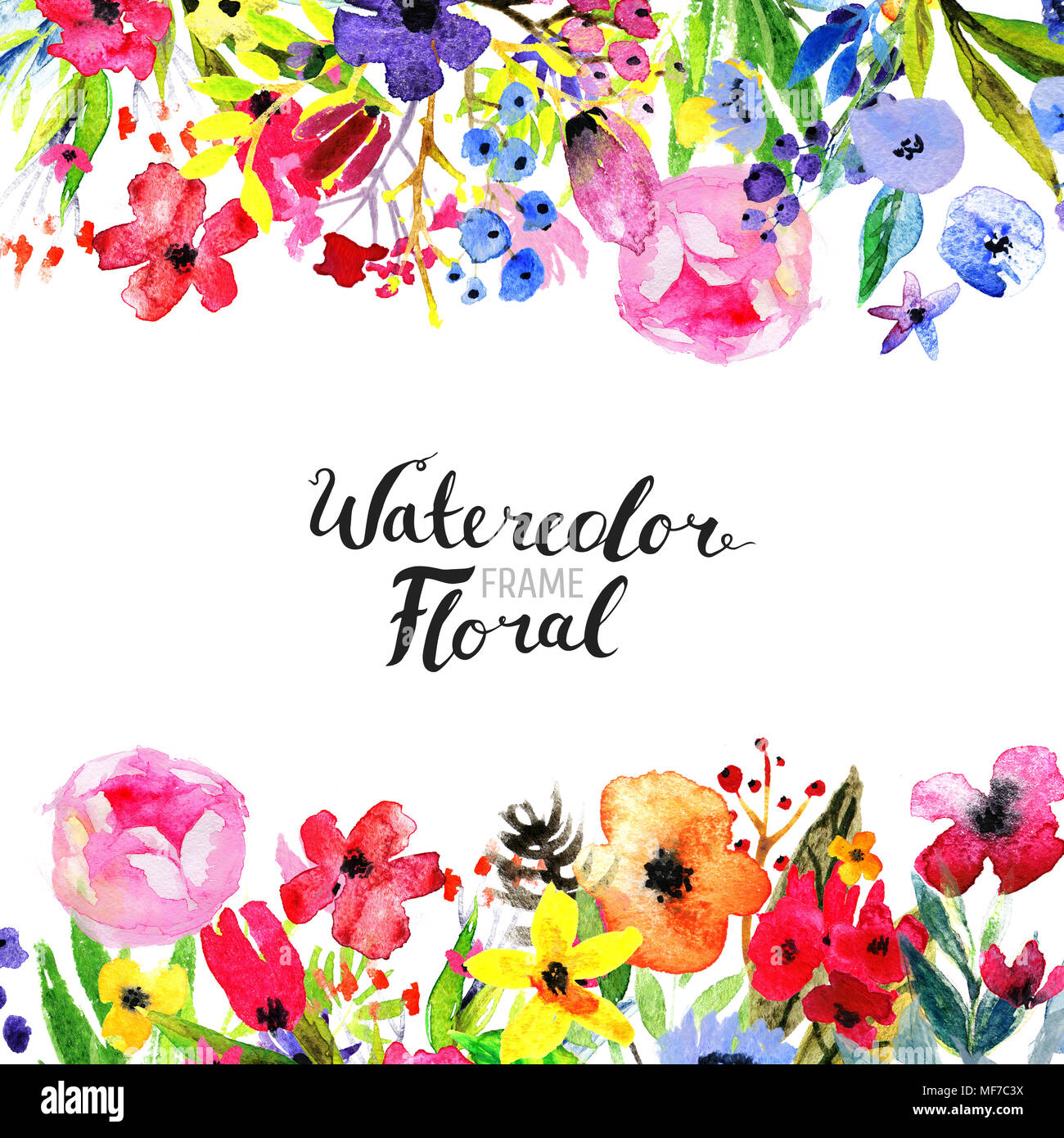 Watercolor floral background hand painted border of flowers good hand painted border of flowers good for invitations and greeting cards painting isolated on white and brush lettering m4hsunfo