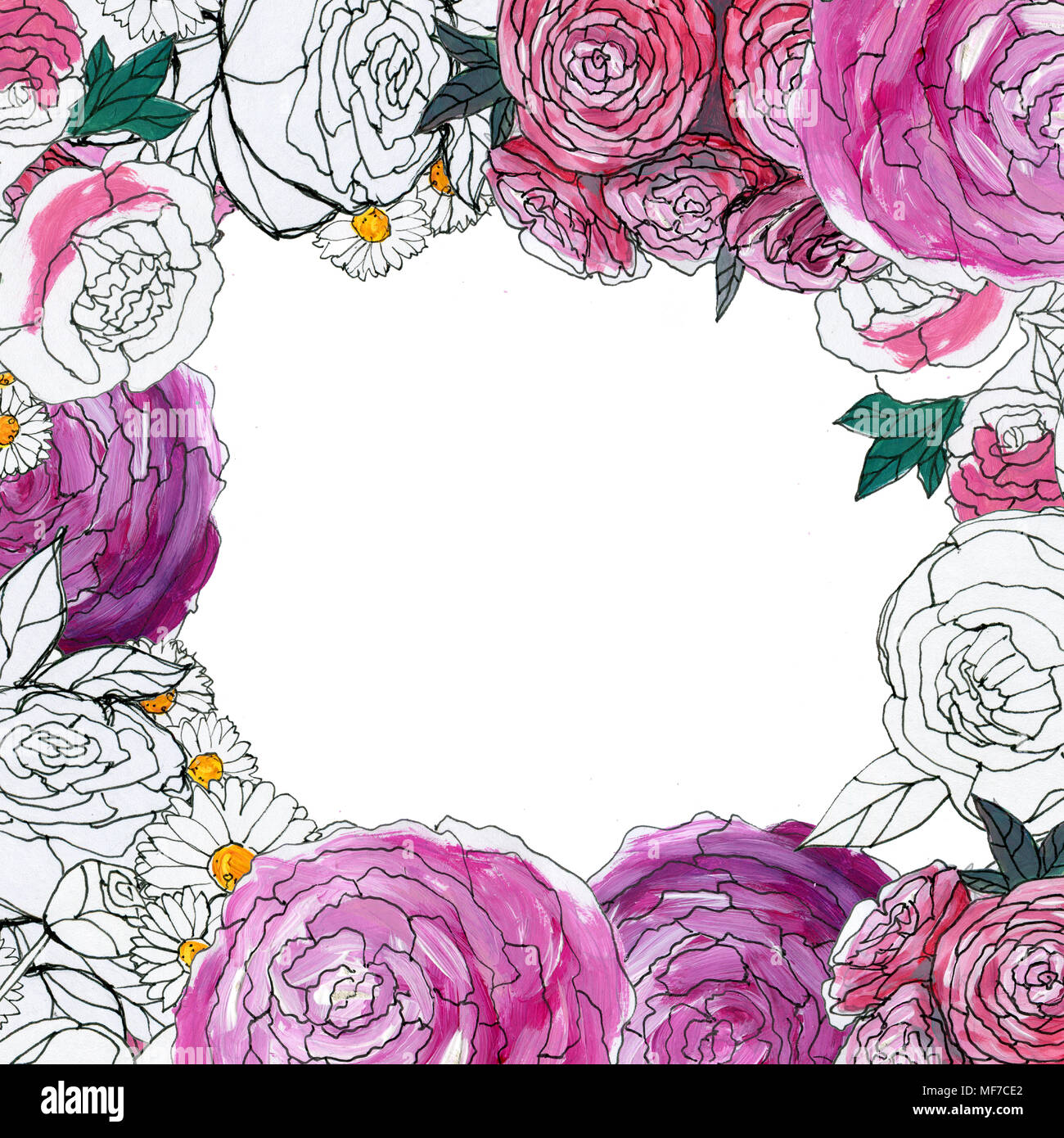 Watercolor floral background hand painted border of flowers good hand painted border of flowers good for invitations and greeting cards frame of roses isolated on white spring blosso m4hsunfo