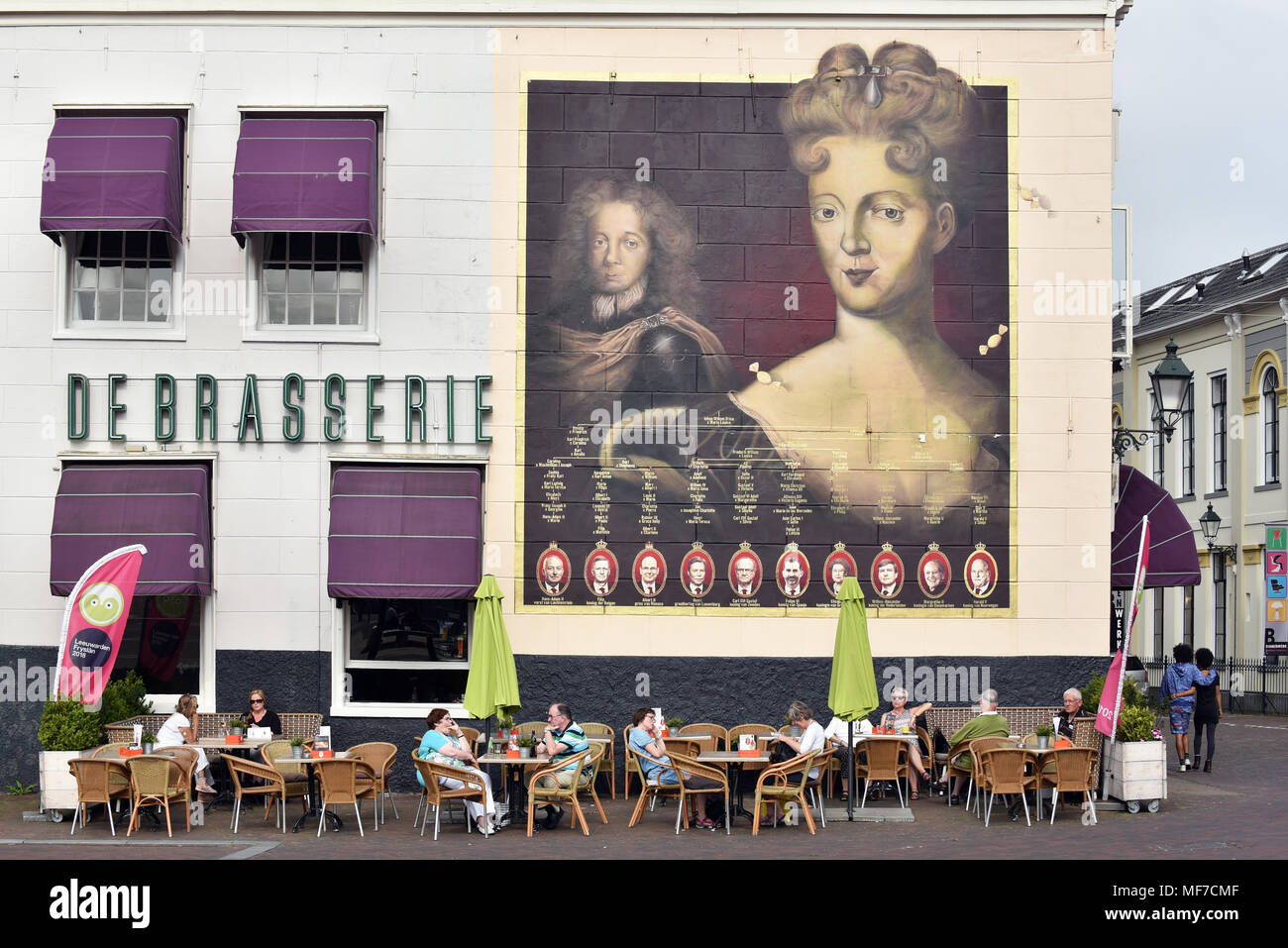 Streetart in Leeuwarden. Painting of Landgravine Marie Louise of Hesse-Kassel and the genealogical tree of the European Royals. - Stock Image