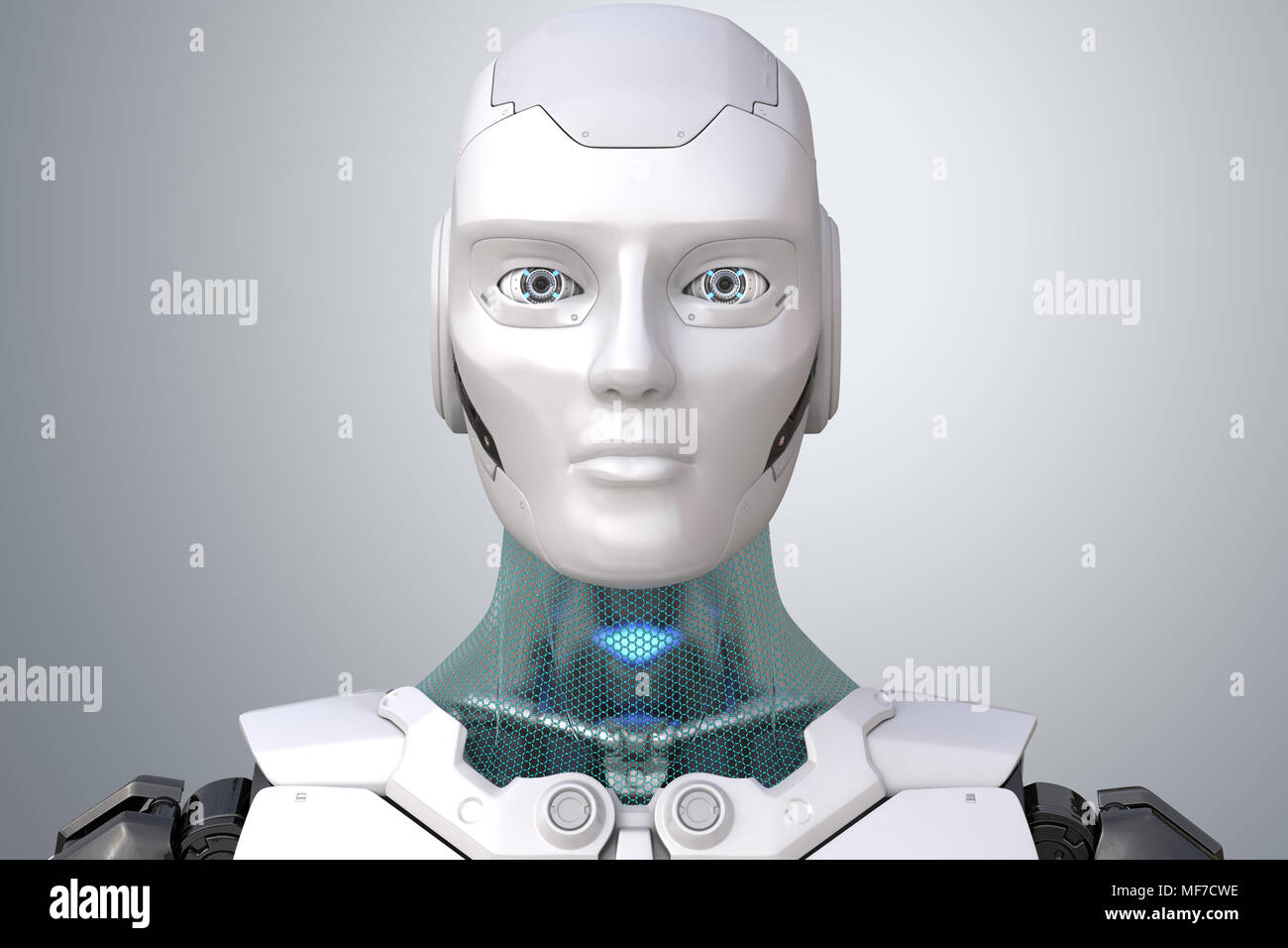 Robot's head in face. 3D illustration - Stock Image