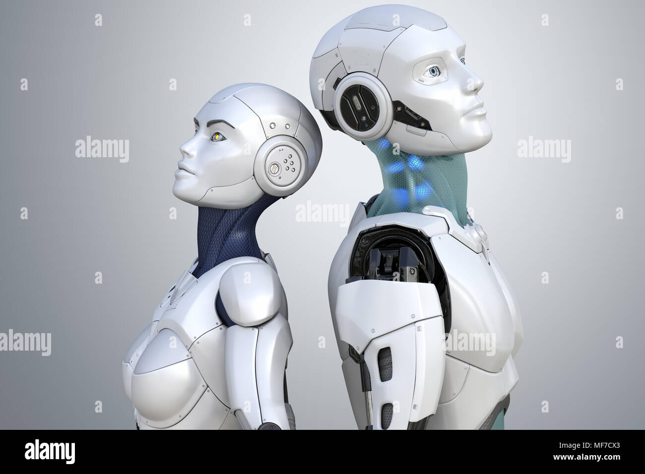 Female and male robots. 3D illustration - Stock Image