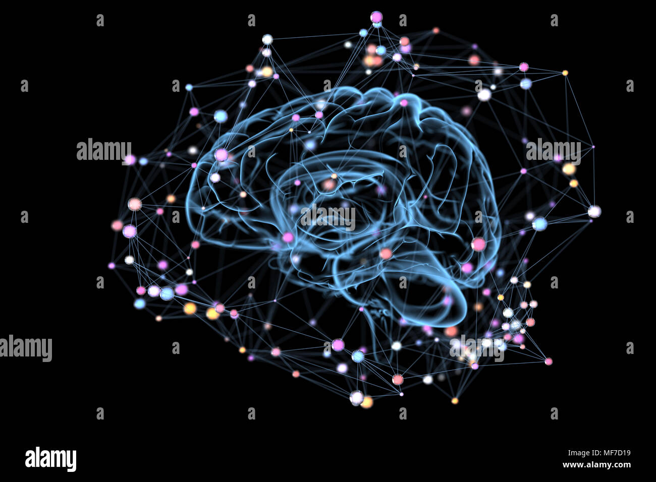 Illustration of the thought processes in the brain. 3D illustration Stock Photo