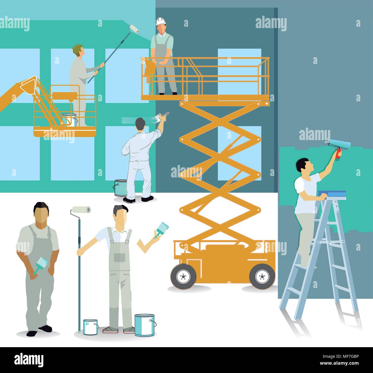 Painter craftsman at the construction site - Stock Vector