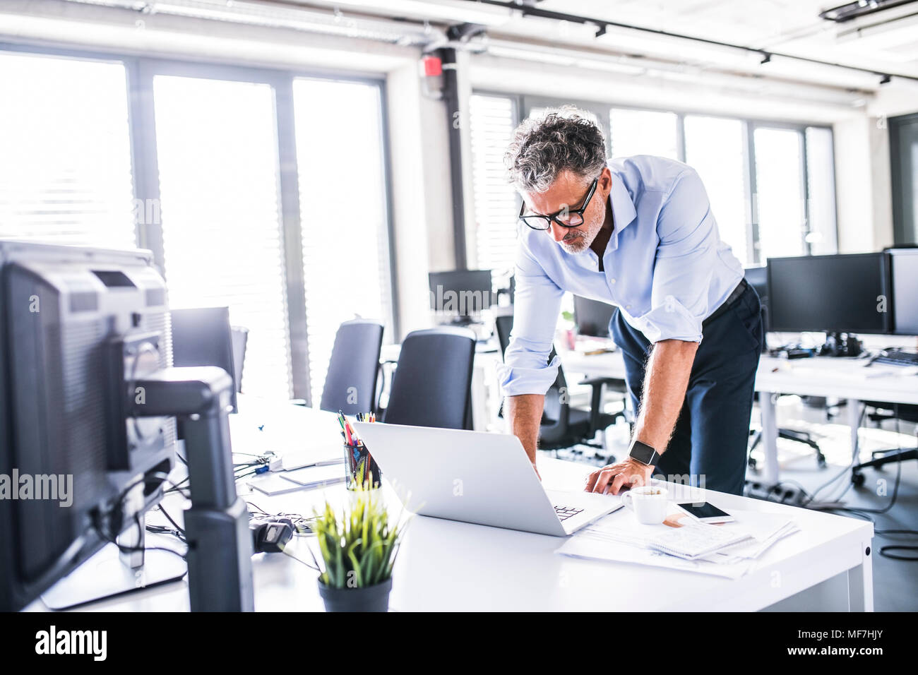 Mature businessman using laptop at desk in office - Stock Image