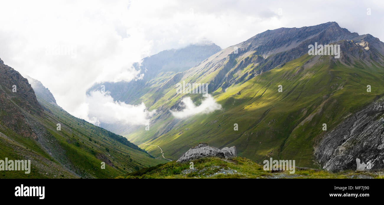 Italy, Piemont, West Alps, Landscape at Colle Sommeiller Stock Photo
