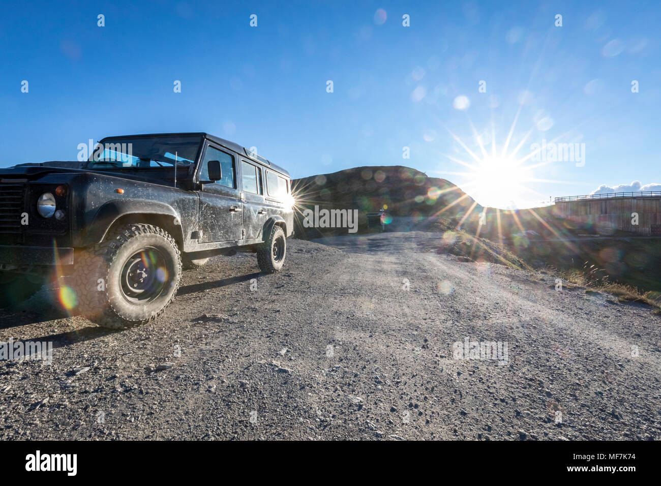 Italy, Piemont, West Alps, Landrover on Colle dell'Assietta Stock Photo