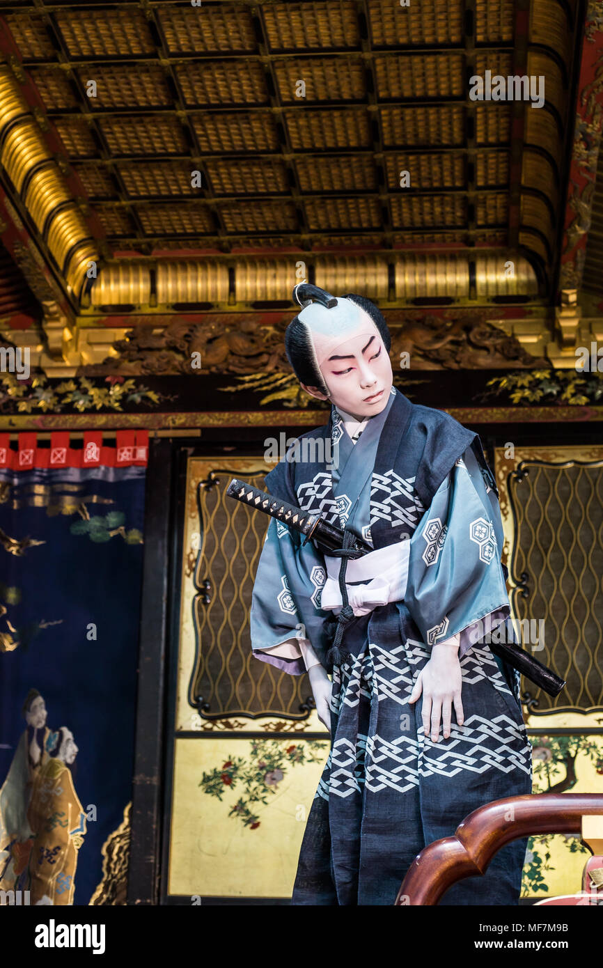 The unique feature of the Hikiyama Festival is that performances of kabuki are performed by children, a rarity in Japan.  There are12 kabuki floats c - Stock Image