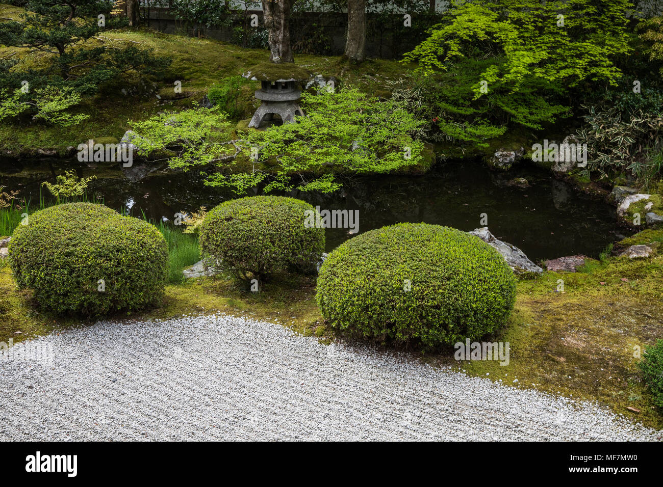 Sennyu-ji Garden - Sennyu-ji Temple is at the foot of Mt. Tsukinowa in Higashiyama Kyoto. The origin of this temple, which is called Mitera by locals  - Stock Image